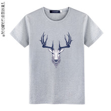TIMESUNION Summer New Design Tide Brand Men Deer head Print T-shirt Hip Hop Fashion Men Short Sleeve T Shirt High Quality YDB913
