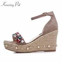 Krazing Pot 2018 Sheep Suede Rhinestone Crystal Brand Shoes Women High Heels Wedges Increased Office Lady