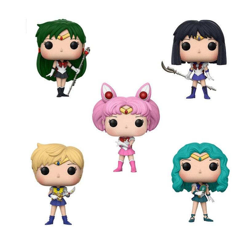 Funko POP Sailor Mond & NETTE SAILOR SATURN/NEPTUNE/PLUTO/URANUS/CHIBI MOND Action Figure Sammeln modell spielzeug für chlidren