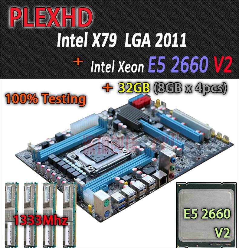 for Intel Xeon X79 motherboard CPU RAM combos LGA 2011 E5 2660 V2 (10 cores/20 threads) memory (4*8G)32G DDR3 REG ECC deluxe edition huanan x79 lga2011 motherboard cpu ram combos xeon e5 1650 c2 ram 16g 4 4g ddr3 1333mhz recc gift cooler