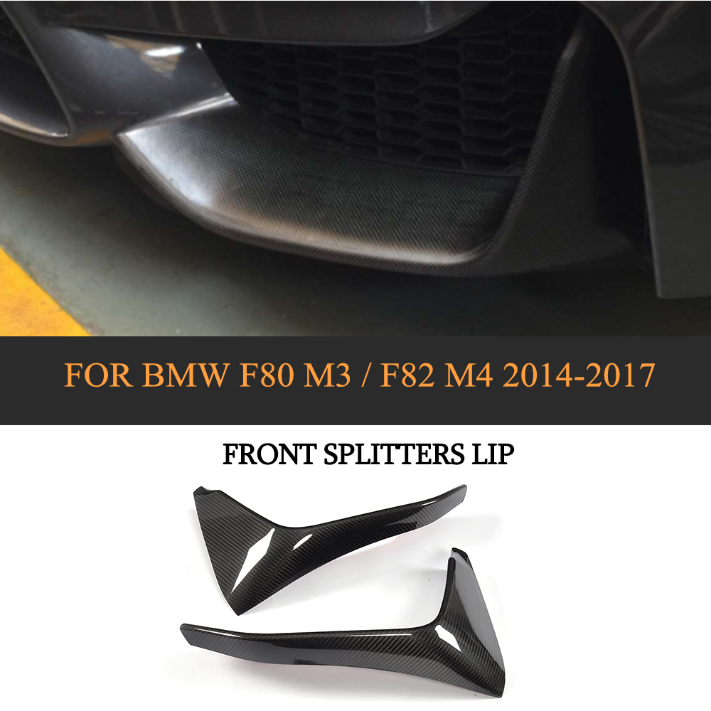 DRY Carbon Racing Front Lip Splitter Fog Lamp Splitters Rear Splitters for BMW F80 M3 Sedan 4Door F82 M4 Coupe 2Door 14-17