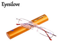 Eyesilove 10pcs/lot cheap pen case reading glasses go with case portable mini presbyopia glasses lenses power +1.0 to +4.0