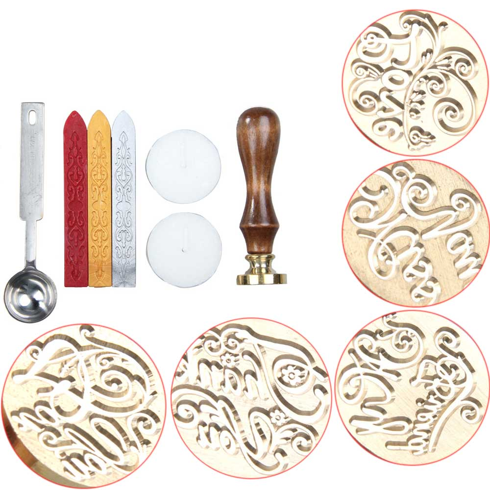 Personalized classic seal stamp sticks spoon set diy for Decoration wax