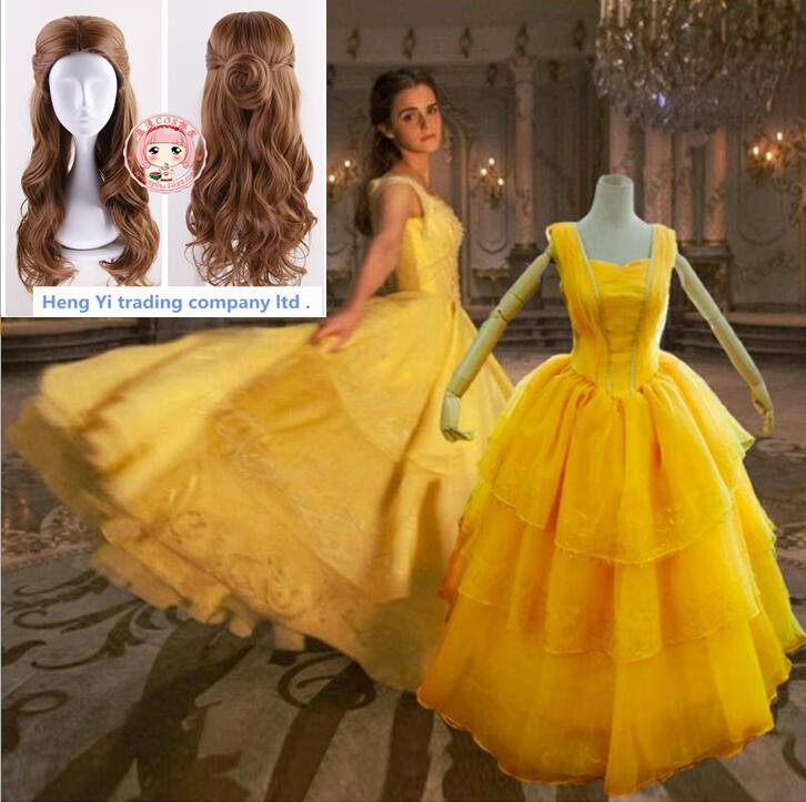Beauty And The Beast Bellee Cosplay Costumes Yellow Dress Wig Set Woman Halloween CosCostumes Princess Disguisement For Carnival