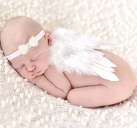 2pcs/set New Lovely Baby Girls Crystal Bow Headband + Angel Feather Wings Outfit Newborn Photography Props Hair Band Accessory