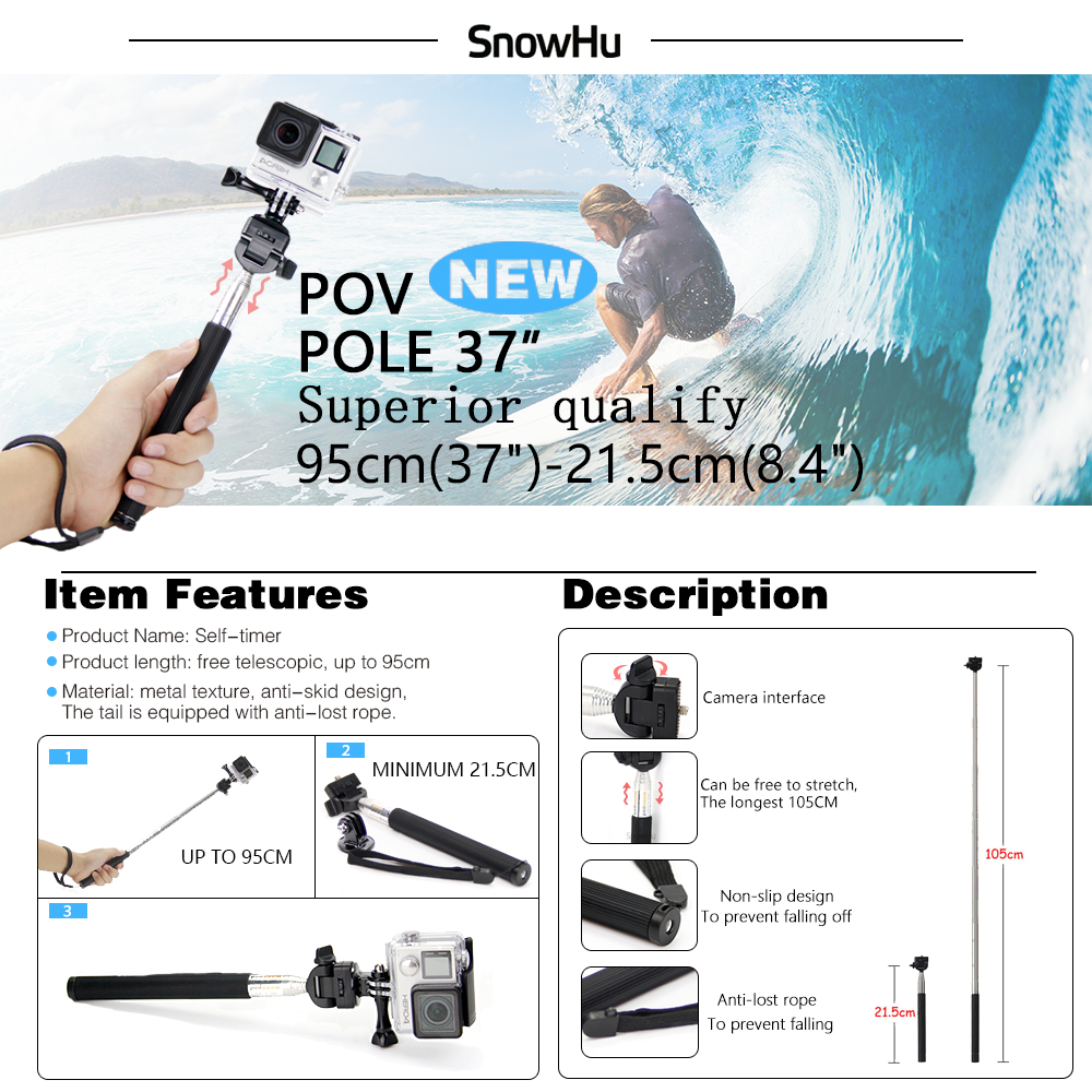 SnowHu for Gopro 7 6 5 Accessories Set Waterproof Housing Protection case Tripod Monopod for Gopro hero 7 6 5 Sport Camera GS73 in Sports Camcorder Cases from Consumer Electronics