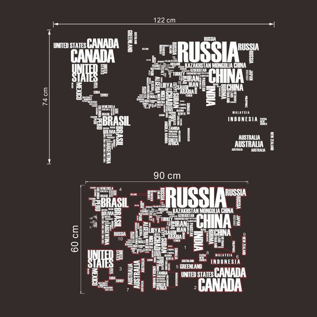 World Map Quote Removable Wall Stickers 6