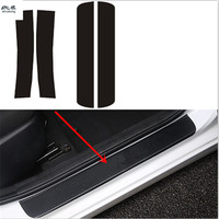 4pcs/lot car styling sticker carbon fiber grain PU leather door sill decorative cover for 2010 2017 Hyundai Solaris Verna