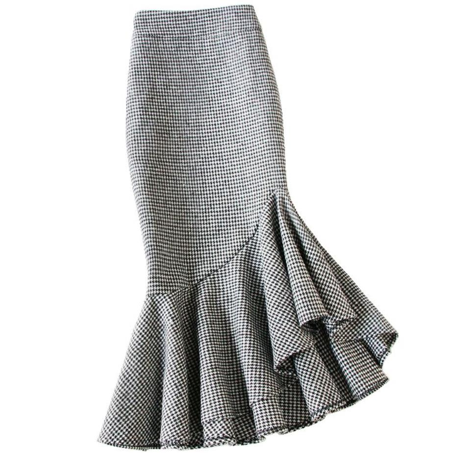 Plus Size 4XL! Small Fragrance Irregular Woolen Mermaid Skirt Women Winter Package Hip Ol Trumpet Skirt