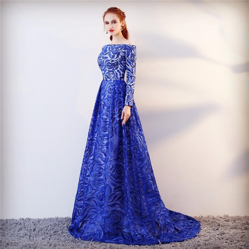 Echte foto lange mouwen formele avondjurk blauwe elegante lange prom - Jurken voor bijzondere gelegenheden - Foto 4