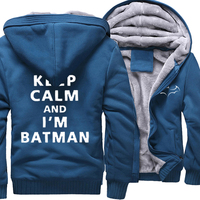 Fashion Hoodies For Men Print Letter Keep Calm And I'm Batman Casual Sweatshirts 2019 Winter Fleece Hoody Thick Zipped Tracksuit