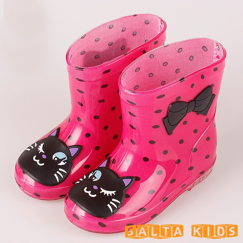 Bebé Botas chico lluvia Botas con impresión de dibujos animados Niñas niños lluvia Zapatos arco impermeable goma niño Botas zapato infantil kh079