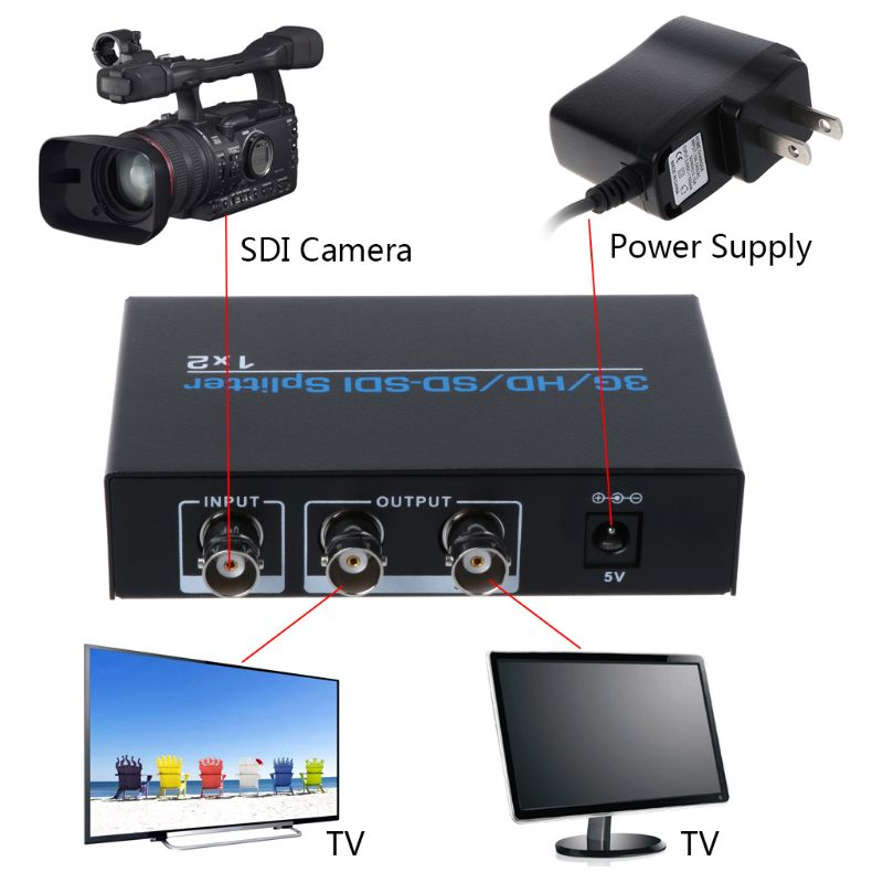 New NK 812 SD SDI HD SDI 3G SDI 1x2 Splitter SD/HD/3G SDI Video Distributor Switcher Accessories