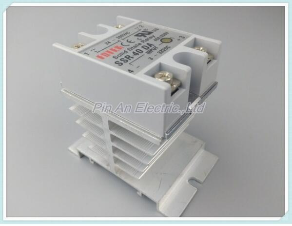 SSR40DA Hot Sale DC to AC Single Phase Solid State Relay SSR-40DA 40A 90-480V AC+Heat Sink ssr 40da single phase solid state relay white silver