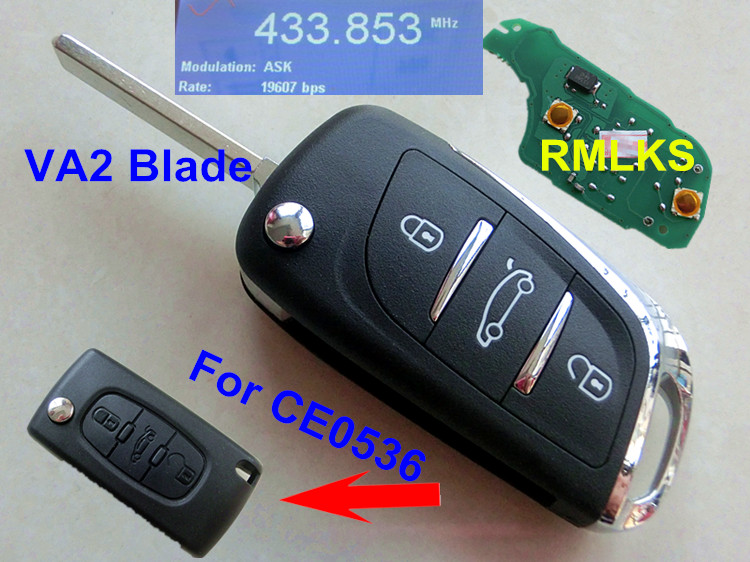 RMLKS DS Style 3 button Folding Flip Fit For Citroen CE0536 For Peugeot Remote Key Fob 433MHz PCF7961 ID46 Chip Uncut Blade