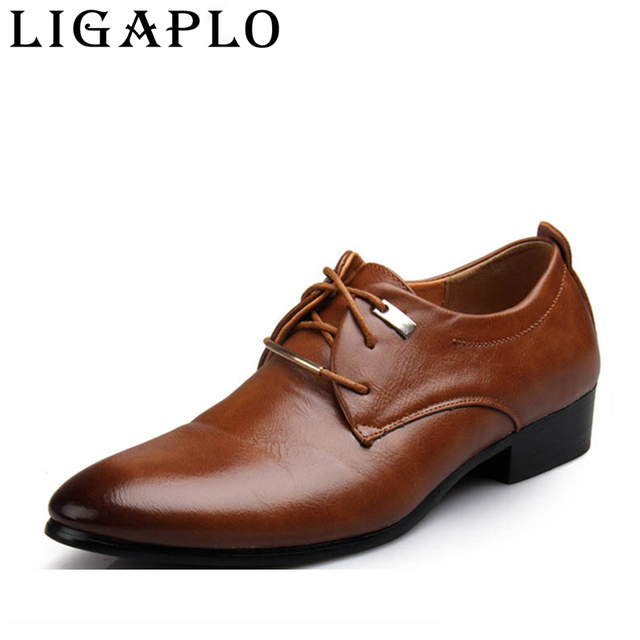 2017 New High Quality Leather Men Shoes Brogues, Lace-Up Bullock Business Men Oxfords Shoes Men Dress Shoes