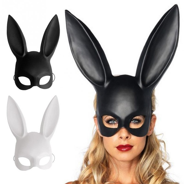 sexy black and white long ears bunny girl mask for halloween day costume dance party women