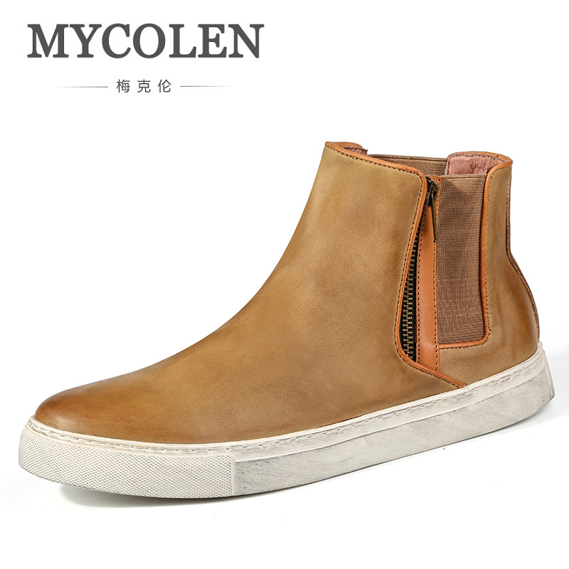 MYCOLEN Genuine Leather Shoes Fashion Brand Men Short Boot For Man Slip-On Chelsea Boots Inside Warm Winter Man Winter BootsMYCOLEN Genuine Leather Shoes Fashion Brand Men Short Boot For Man Slip-On Chelsea Boots Inside Warm Winter Man Winter Boots