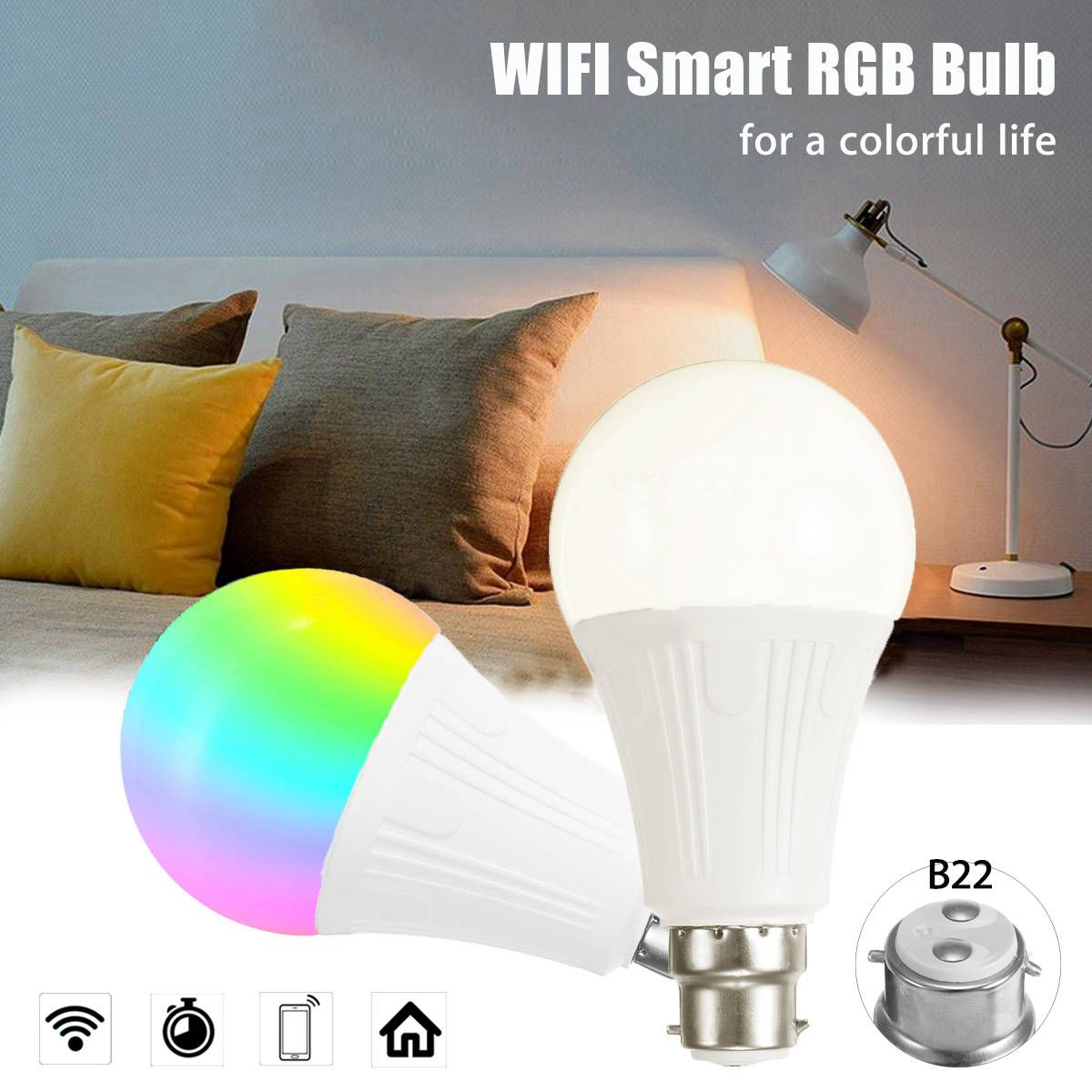 B22 7W RGBW WiFi APP Controlled LED Smart Light Bulb for