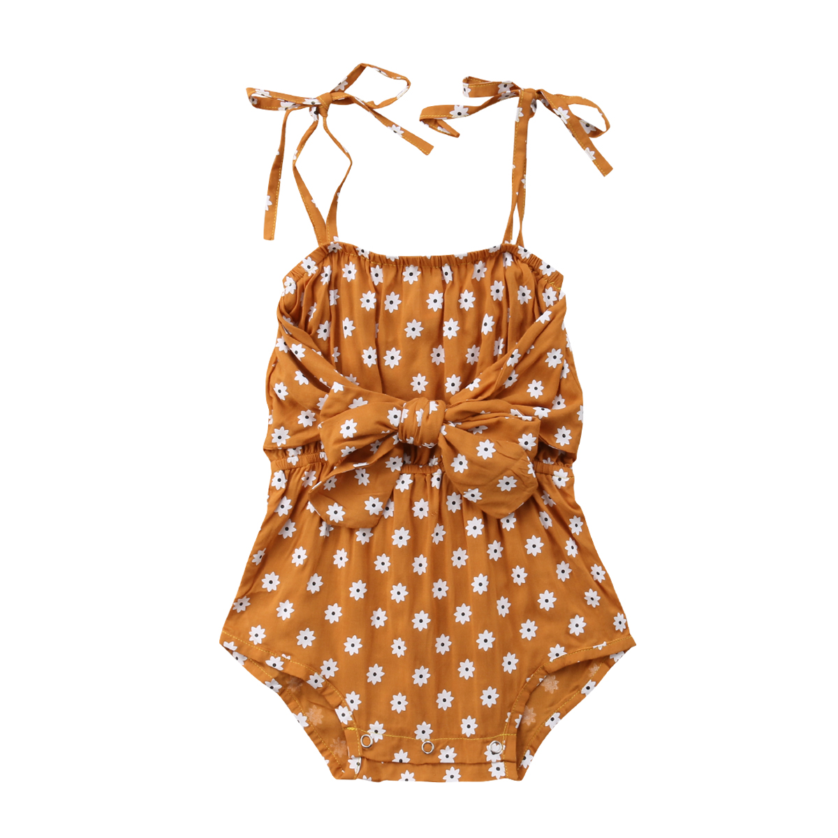 Newborn Baby Girl Strap Bowknot Floral   Romper   Polka Dot Jumpsuit Outfits Sunsuit