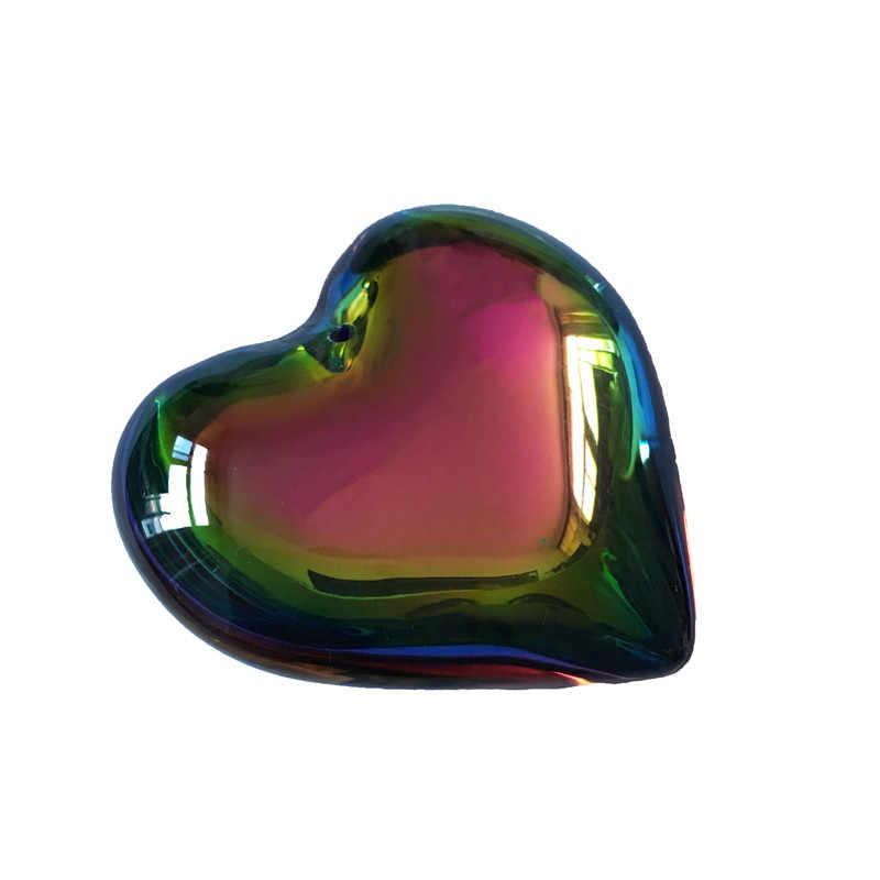 10 יח'\חבילה 35mm קשת קריסטל לב תליון קריסטל חלקי תליית קריסטל Drop פריזמה מנורת חלק Suncatcher
