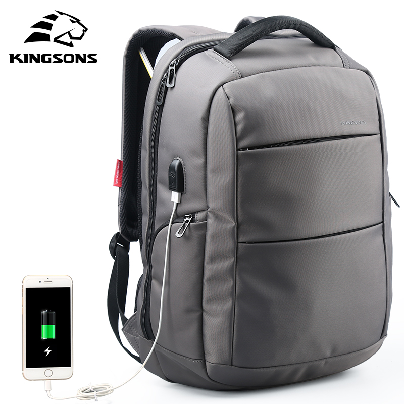 Kingsons External Charging USB Function School Backpack Anti-theft Boy's Girl's Dayback Women Travel Bag 15.6 Inch