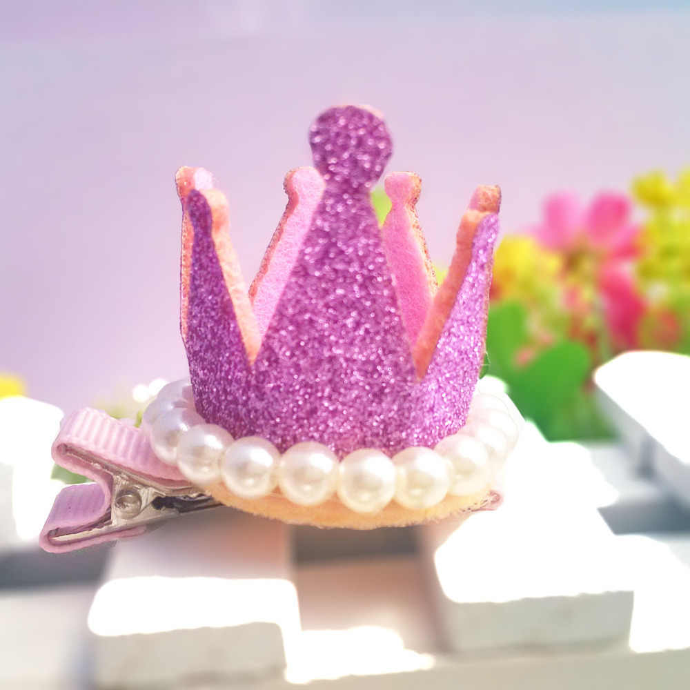 C 1PC New Pearl Shiny Crystal Crown Hair Pins Cute Tiaras Hair Accessories Girl Barrettes Dancing Hair Clips for Princes Dress