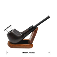 1 Set Black Wood Ebony Wooden Smoking Pipe 7 Mm Filter Core Metal Screen Filter