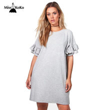 Misskoko Women Plus Size Solid T-shirt Dress Crewneck Ruffle Short Sleeve  Casual Big Size Short Party Dress 3XL 4XL 5XL 6XL 5ecebd816c77