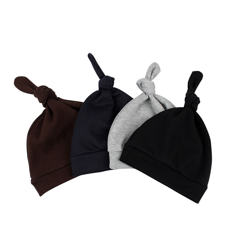 4 Pcs Cotton Newborn Baby Hat Solid Thin Beanie Hat For Boys Cute Knot Beanie Spring Summer Newborn Girls Hat Baby Boys Clothing