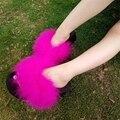 Chanclas Mujeres de piel Dulce Gruesas Cuñas de Plataforma Sandalias Zapatillas de Plumas de Avestruz 2017 Verano Correas Plataforma Zapatillas de Playa