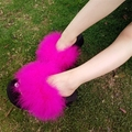 Fur Flip Flops Women Sweet Thick Platform Wedges Sandals Ostrich Feathers Slippers 2017 Summer Platform Thongs Beach Slippers