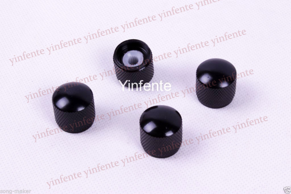 8 pcs Black Plated Metal Electric Guitar Bass Dome Tone Knobs BY360