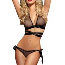 Womens Erotic See Through Mesh Underwear Lingerie Set Halter Deep V-Neck Cross Strap Bra Low Waist Lace Up G-String Solid Color все цены