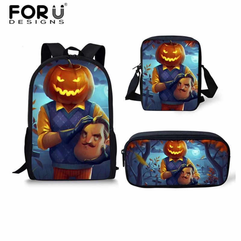 167856f17763 FORUDESIGNS Cartoon School Bags for Teenage Girls Boys 3PCS Set Hello  Neighbor Pumpkinhead Game School