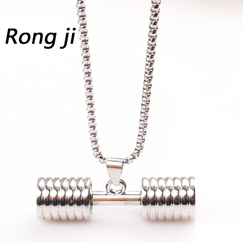 High Quality weight 26g Fitness Gym Bodybuilding Sport Dumbbell Barbell long Pendant Necklaces Men Women Jewelry