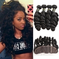 3PCS Malaysian Loose Wave 13X4 Ear to Ear Lace Frontal Closure With Bundles Malaysian Virgin Hair Weft With Human Hair Bundles