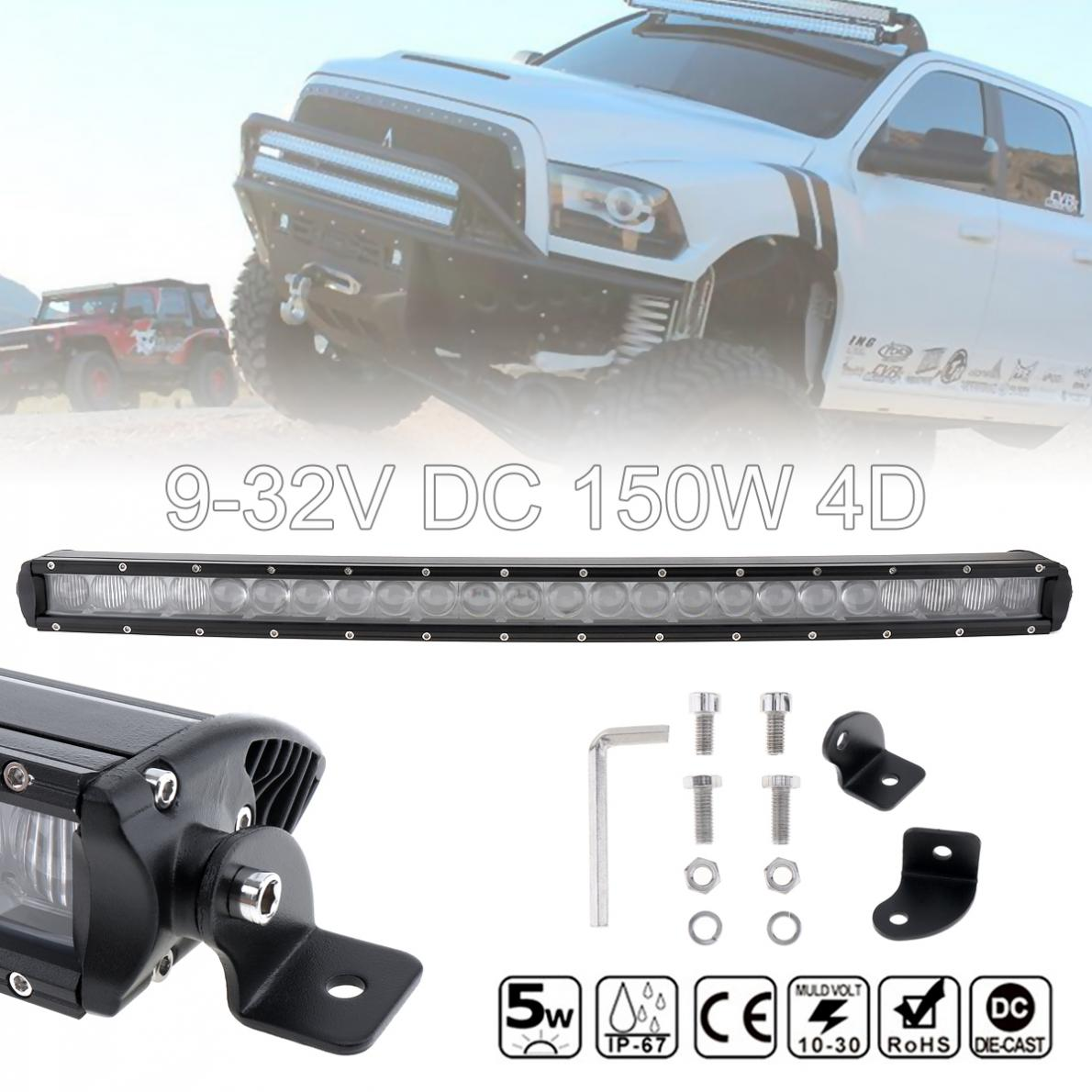 31 Inch 150W 15000 LM Waterproof Car LED Curved Worklight Bar 30x 4D Combo Offroad Light Driving Lamp for Truck SUV 4X4 4WD ATV 50 inch 288w curved led light bar offroad 288w led light bar for off road 4x4 4wd car truck atv suv 12v 24v boat combo wire kit
