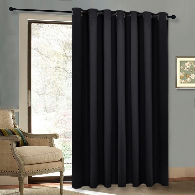 Autumn / Winter Grommet Top Thermal Insulated Extra Wide Solid Blackout  Curtain / Drape For Patio