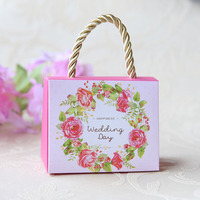 Free DHL 250pcs/lot DIY Portable Happy Wedding Day Candy Box Sweet Love Portable Candy Box Small/Big Size Flower Candy Box.