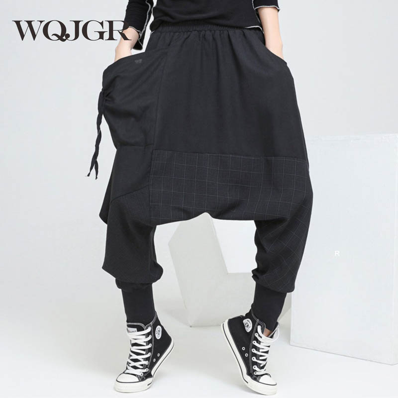 19f471545ee WQJGR 2018 Весна провисание плюс размер брюки ноги шаровары брюки для женщин
