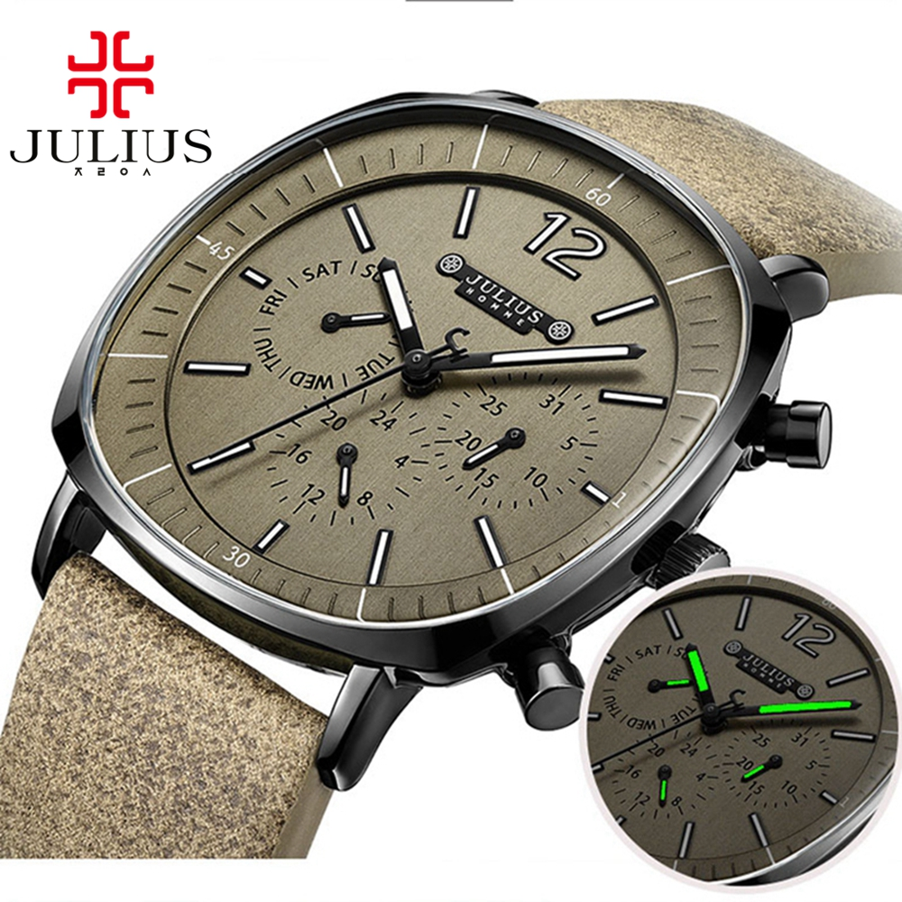 Best quality famous brand JULIUS 098 homme original leather band needle sport wristwatch gent outdoor water resistant good time best band шорты для мальчика be350129 коричневый best band