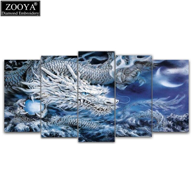 ZOOYA 5d diy Diamond embroidery Dragon 5pcs Multi-picture Combination diamond painting Cross Stitch Rhinestone decoration
