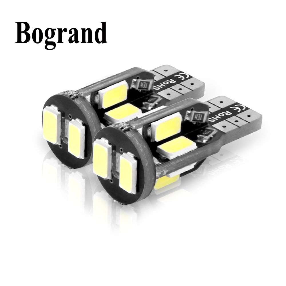 Bogrand 2PCS Car Styling 10SMD 5730 Canbus T10 Led No Error w5w 194 168 Auto Dome Lamp Light Bulbs 12V 2 x t10 led canbus w5w 194 interior xenon white led canbus no obc error t10 10smd 5630 5730 with lens projector aluminum
