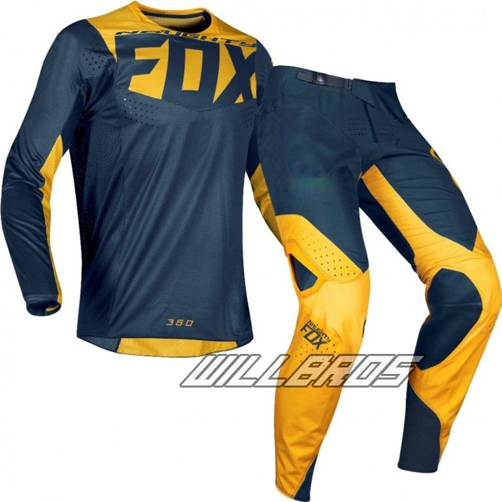 Livraison gratuite 2019 vilain renard MX 180 Prizm bleu marine jaune Jersey pantalon Motocross course Dirt bike hors route équipement ensemble