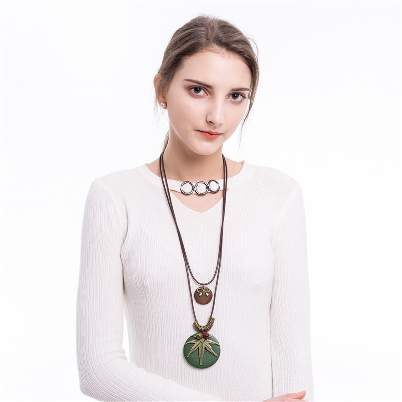 3 Color Wooden Pendants Necklace Women Men Metal Leaves Guitar Double Deck Adjustable Chain Long Sweater Necklace Jewelry in Pendant Necklaces from Jewelry Accessories