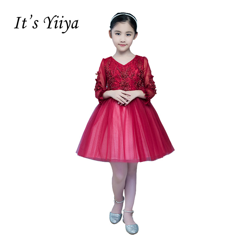It's YiiYa Red V-neck Long Sleeves Zipper   Flowers   Embroidery Knee-length Ball Gown Princess   Flower     Girls     Dress   Communion TS236