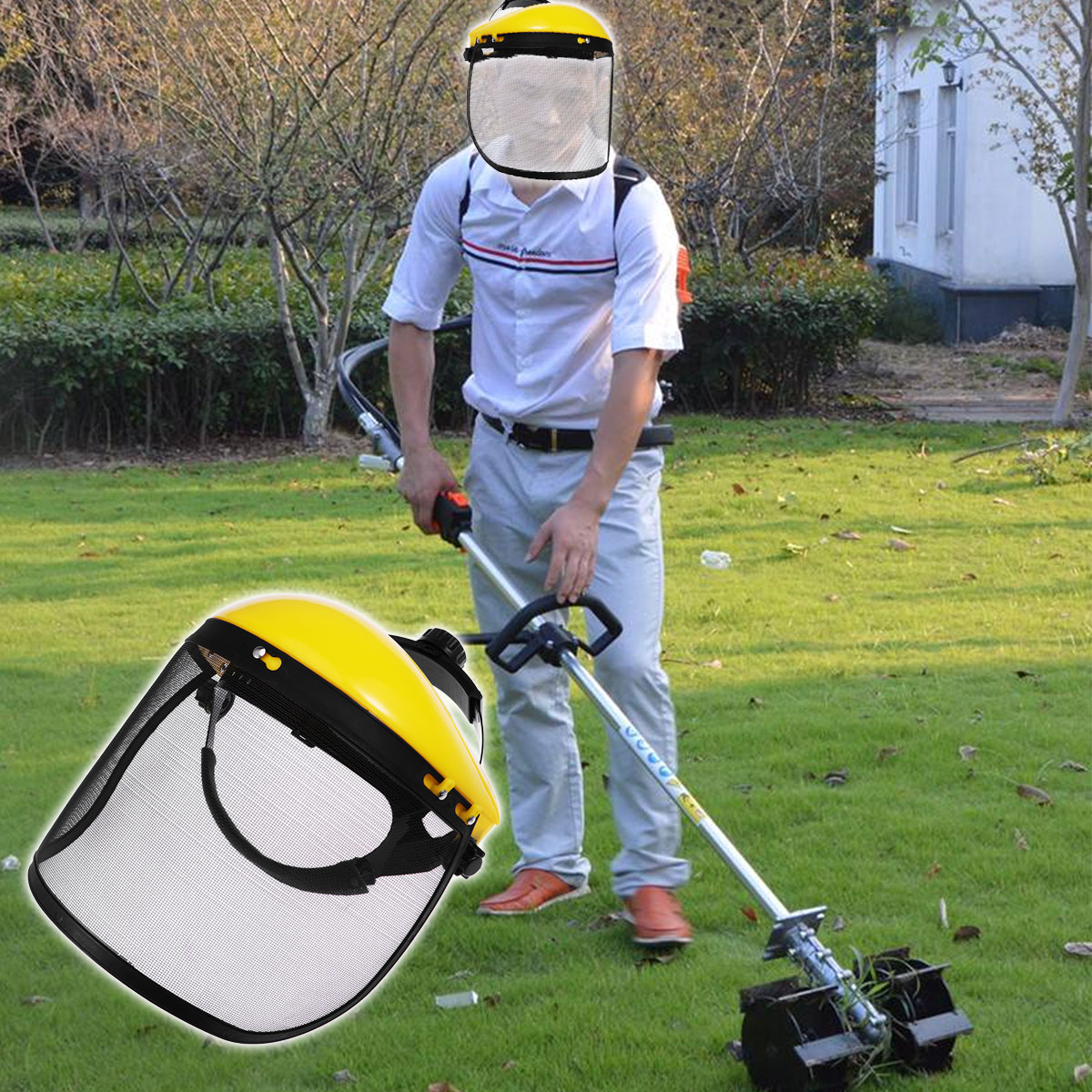 Face Shield Mesh Visor Browguard Ideal For Brushcutter Trimmer Strimmer Shield