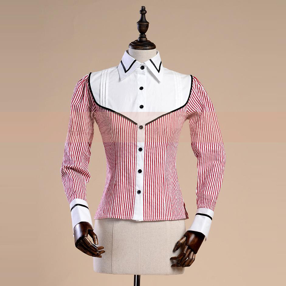 New Spring Autumn Women Office Lady Cotton Shirt Vintage Gothic Jacquard Red Stripe Blouse female Casual