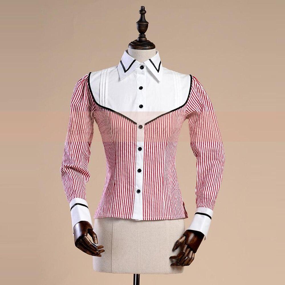 Nueva primavera otoño mujer Oficina señora Camisa de algodón Vintage gótico Jacquard rojo raya blusa femenina Casual Delgado Formal camisas-in Blusas y camisas from Ropa de mujer    1
